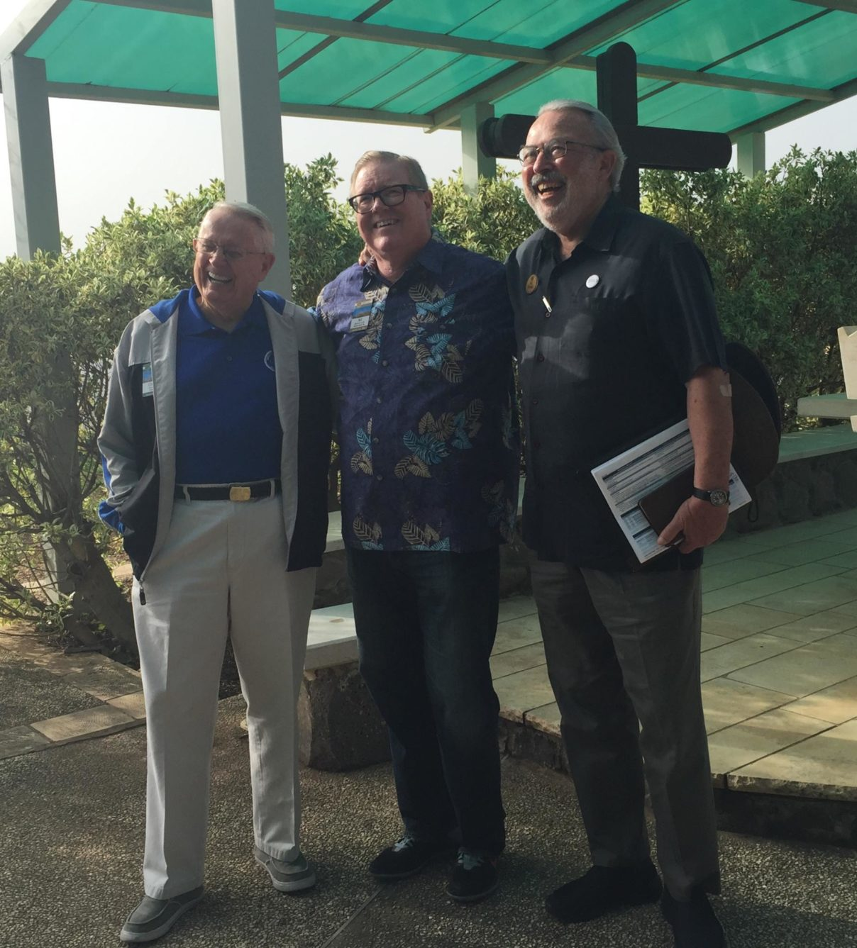 Three of my favorite people standing together before worshipping on the Mount of Beatitudes.